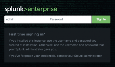 This screen image shows the first time login page for Splunk Enterprise.