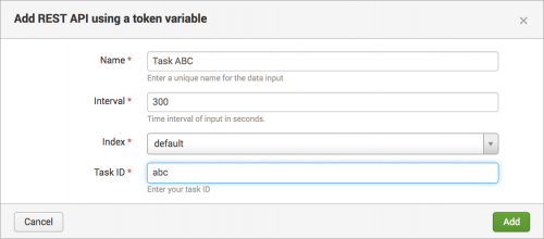 Configure data collection using a REST API call - Splunk