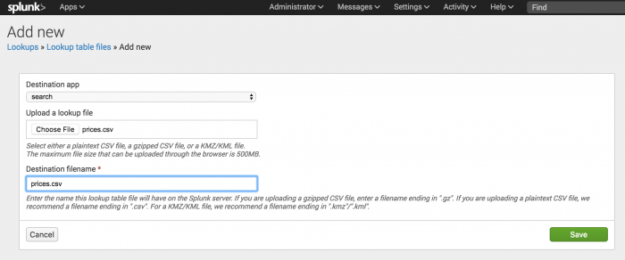 This image shows the Add new view with the prices.csv file specified as the file to upload and the destination name.