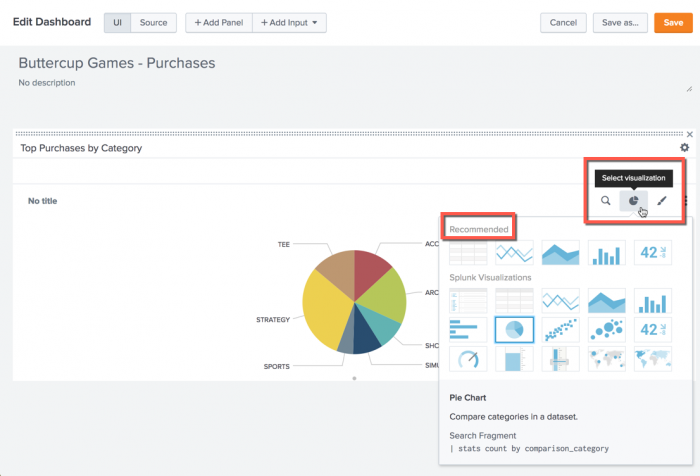 This screen image shows how to add or change a visualization to an existing dashboard panel.