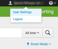 "This image shows the Account menu in Splunk Cloud. The choices on the menu are ""User settings"" and ""Profile""."