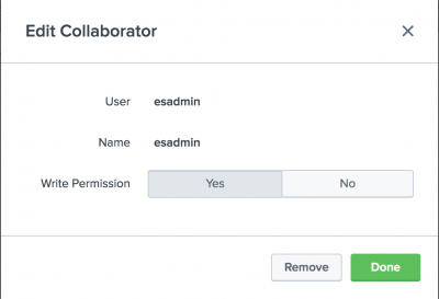This screen image shows the name and permissions options that show when you click a collaborator icon.