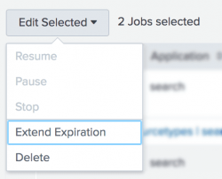This image shows the Edit Selected button expanded. The editing choices are Resume, Pause, Stop, Extend Expiration, and Delete.