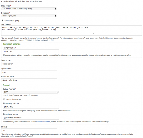 Configure Splunk DB Connect v1 inputs for the Splunk Add-on