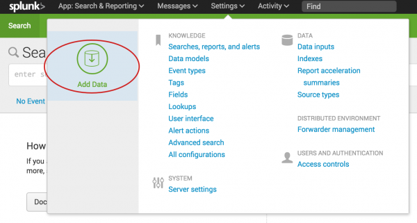 This screen capture shows the Settings drop-down menu on the black Splunk bar. The Add Data option is circled.