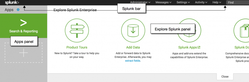 This image shows the Splunk Home page for Splunk Enterprise. There are labels on the Apps panel, the Explore Splunk panel, and the Splunk bar.