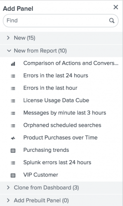 This screen image shows the list of reports.