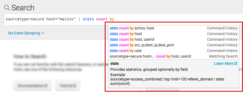 "This screen image shows the search ""sourcetype=secure host=""mailsv"" 