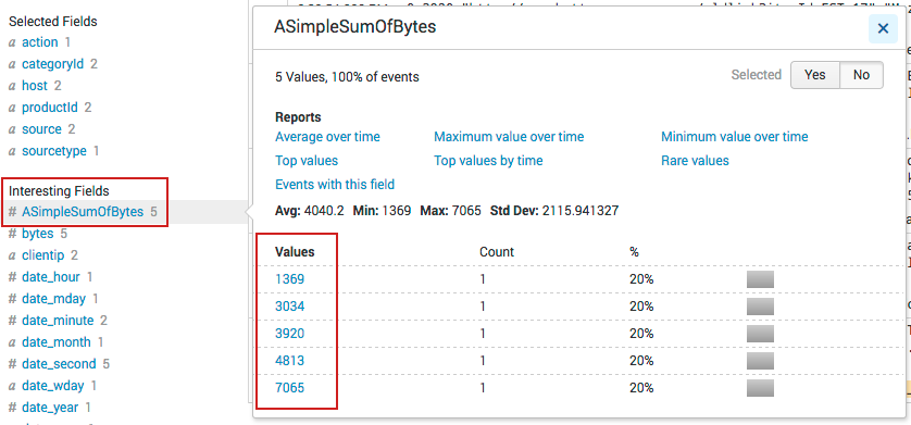This image shows the ASimpleSumOfBytes field selected in the list of Interesting fields. A popup window shows the cumulative sum of the bytes.