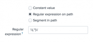 This screen image shows the next step in adding data, Input Settings The Regular expression on path option is selected and the regular expression is typed into the field.