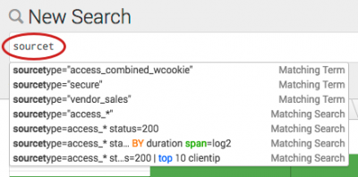 "This screen image shows the search assistant Compact mode. The letters ""sourcet"" are typed into the Search bar. A list of matching terms and matching searches appears below the Search bar."